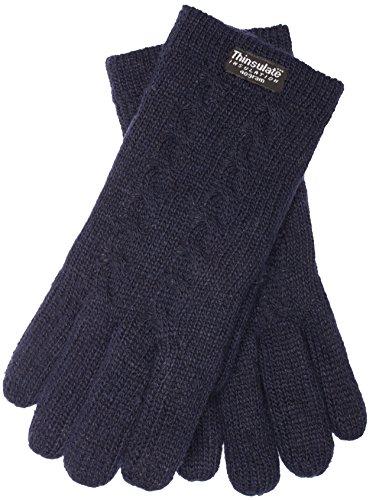 EEM Damen Strickhandschuhe FREYA mit Zopfmuster und Thinsulate Thermofutter, 100% Wolle, Winterhandschuh; navy L