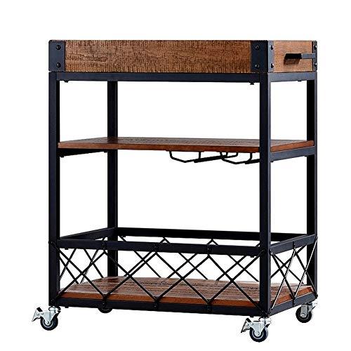COOCAQI+Trolley Servierwagen Küchenwagen Wagen mit 3 Etagen Ablagefläche, Griffstangen, abschließbare Lenkrollen Abnehmbarer Holzkistenbehälter