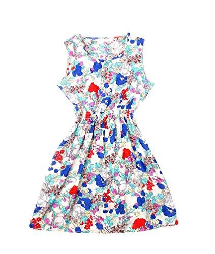 WanYang Donne Mini Vestiti Abito Vintage Stampato Senza Maniche Chiffon Vestito Abiti Rotondo Collo Floreale 6