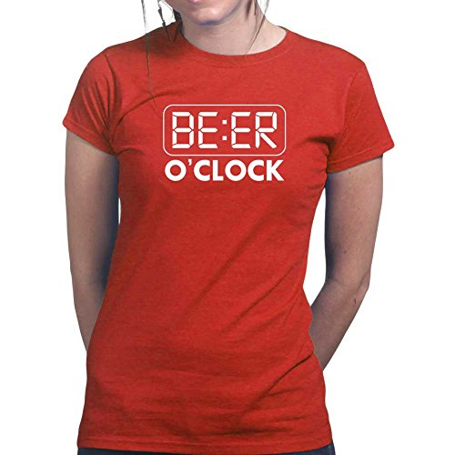 Beer O'clock - Funny Drinking Party Ladies T Shirt (Tee, Top) Red