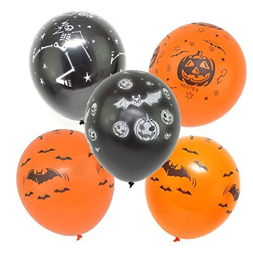 Gifts 4 All Occasions Limited SHATCHI-1164 Shatchi 30,5 cm Halloween-Luftballons bedruckt, Latex, Party-Dekorationen, Kürbisse, Spinnen, Web, Skelett-Trick or Trit Scarty, 12 Stück, mehrfarbig