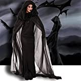 LATH.PIN [Sorcière Anime Costume Halloween Deguisement] Sorcière Robe Noir Anime Costume Fantaisie Deguisement Costume pour Noël Halloween Party (Noir, XXL)