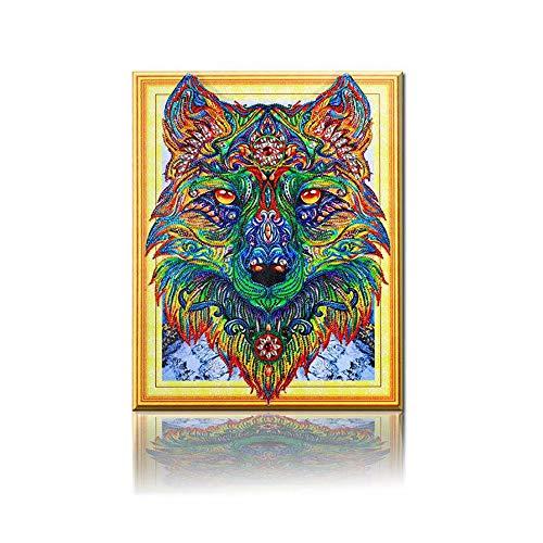 YOMIA Diamantgemälde Wolf Kreuzstich Muster besondere Form Diamant Stickerei Gemälde Tiermosaik Muster Bild Strass Stickerei Malset -