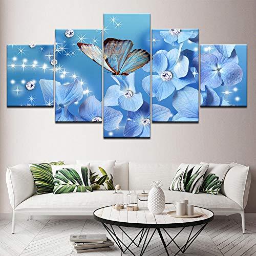 tianmm 5 stücke von leinwand malerei Schmetterling Wandkunst 3D Moderne HD Drucken Bild Abstrakte Wandbild Vorlage Block Dekoration