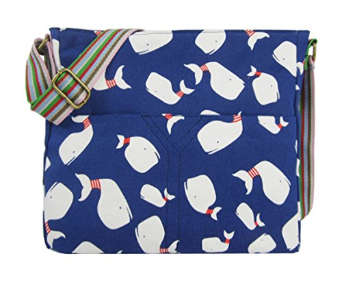 Kukubird Vari Animali E Fiore Crossbody Design Top-manico A Tracolla Del Totalizzatore Dark Blue Whale