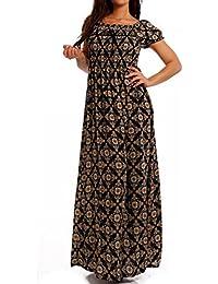 Young-Fashion Maxi-Kleid Carmen kurzarm und mit Ausschnitt - Als stylisches Strand-Kleid oder Party-Kleid - Langes Kleid für Frühling, Sommer und Herbst - Jumper Freizeit-Kleid mit Allover-Druck