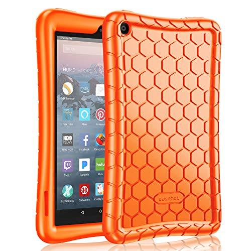 Fintie Silikon Hülle kompatibel für Fire 7 Tablet (9.Generation - 2019) - Leichte rutschfeste Stoßfeste Silikon Tasche Case Kinderfreundliche Schutzhülle, Orange (Orange Cases 7 Tablet)