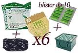 Sacchetti in Carta Naturale per Folletto Vorwerk vk130 - vk131 + Profumini al Pino + Filtro Carboni + Filtro Hepa (6 Sacchetti + 10 Profumini + 1 Carboni + 1 Hepa)