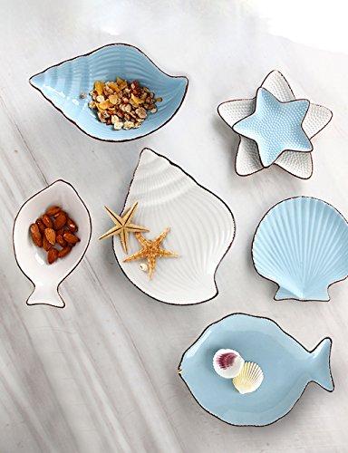 Salatschüsseln Ocean Series Kreative Cartoon Keramik Besteck Niedlich Set Nordischen Stil Dish Dish Platte Teller Fisch Schüssel Multi Style Set Nudelschale (größe : Blue and White Suit) Ocean Blue Teller