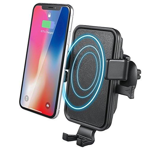 Wireless Charger Auto, NOVETE Qi Ladegerät und Autohalterung, Wireless Kfz-Ladegerät induktive ladestation für Samsung Galaxy S9/S9 Plus/S8/S8 Plus/Note 8/S7/S7 Edge/S6 Edge Plus/Note 5, Standard Lademodus für iPhone 8/8 Plus/iPhone X und alle Qi Fähige Geräte