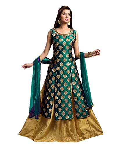 Hirva Collections Women's Jequard Silk Western Gown (Rama_Green)