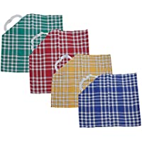Bricout - Linge - Lot De 4 Serviettes De Table Carreaux Normands - 100% Coton - 210 Gr/M2 - Dimensions - 50X50 Cm - Avec Collerette Élastique Label Oeko - Tex