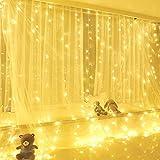 KOBWA Vorhang Lichter, 300 LED Fairy String Lichter mit 8 Modi Fernbedienung für Fenster Vorhang, Terrasse Rasen, Hochzeit, Party Dekoration