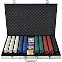 vidaXL Poker Set with 1000 Chips Aluminium Playing Card Game Case Casino Dice