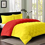 #5: Reversible AC Single Bed Comforter/Blanket/Quilt/Duvet For Winters- Yellow & Red
