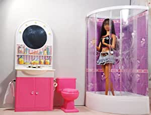 gazechimp ensemble meuble salle de bains douche pour maison de poup e dolls jeux et. Black Bedroom Furniture Sets. Home Design Ideas