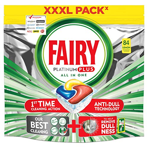Fairy Platinum PLUS - Spülmaschinentabs All-In-One 84 Kapseln Zitrone, Lemon Geschirrspültabs, Geschirrspülmittel Tabs in Sparpack