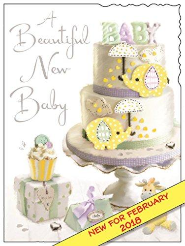bebilderte New Baby Card–(jj3698)–Neutral–aus der Serie Samt–geprägt mit einem silber Folie & Flitter Finish