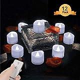 LED Kerzen,Teelichter LED Flammenlose Kerzen mit Flackern Elektrische Kerze Lichter Aottom Batterie Dekoration für Weihnachtsbaum Ostern Hochzeit Party - Weiß (12 Stück)