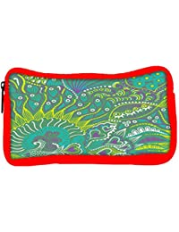 Snoogg Eco Friendly Canvas Abstract Seamless Texture With Fish Student Pen Pencil Case Coin Purse Pouch Cosmetic...