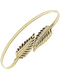 Moda Hojas del estilo del metal del estiramiento elástico de la cintura de la correa de la correa de la pretina de oro Cummerbund