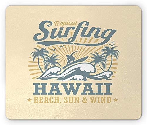 Weinlese-Hawaii-Mausunterlage, tropischer Strand-Wind-Surfen, der die Wellen-Bäume Sun-Strahlen reitet, Standardgrößen-Rechteck-rutschfestes GummiMousepad, Creme-blaugrauer blasser Kaffee