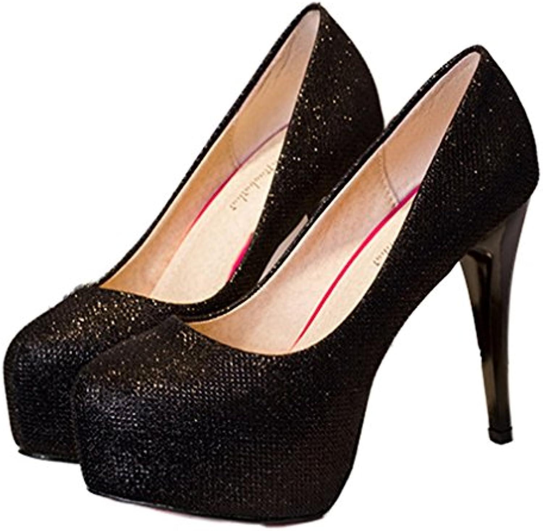 Xianshu Waterproof Shallow boca club nocturno zapatos de lentejuelas zapatos de tacón alto -