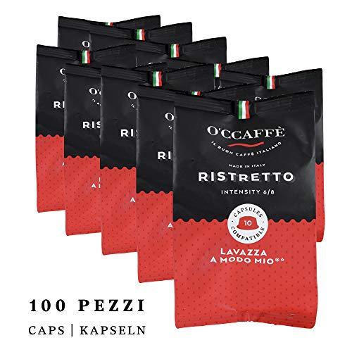 O\'ccaffe Ristretto Capsule compatibili Lavazza a Modo Mio | espresso dolce-acida di un\'azienda italiana | 100 pezzi