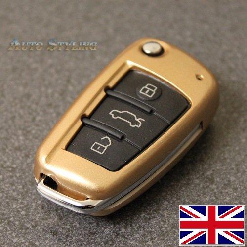 Coprichiave per Audi A1,A3,S3,RS3,A4,S4,RS4,A6,S6,RS6,Q2,Q3,Q5,Q7,TT, TTs, R8,rivestimento di protezione, telecomando a 3pulsanti Size (inch) 2.7 (L) x 1.5 (W) x 0.7 (D) Crystal Gold