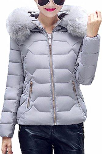 YMING Damen Übergangsjacke Warm Gefüttert Kurz Winter Jacke Steppjacke Winter Parka mit Kunstpelz Kragen,Grau-A,XS