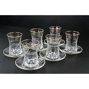 Bicchieri da tè turco arabo 6tazze da tè con piattini con cristalli e decorazioni dorate su vetro cay