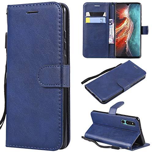 Huawei P30 Hülle, Leder Tasche Handyhülle Flip Wallet Schutzhülle für Huawei P30 mit Ständer und Kartenfächer/Magnetverschluss #Q (Blau)