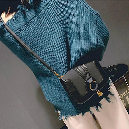 BZLine® Frauen Patchwork Runde Haspe Handtasche Crossbody Umhängetaschen Schwarz