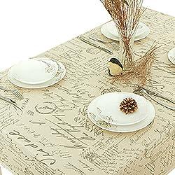 NiSeng Manteles de lino Estampado Alfabeto Manteles para mesas rectangular cuadrados Decoracion Manteles Antimanchas Hosteleria Beige 100x140 cm