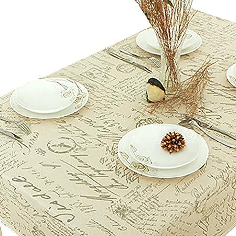 NiSeng Manteles de lino Estampado Alfabeto Manteles para mesas rectangular cuadrados Decoracion Manteles Antimanchas Hosteleria Beige 90x90 cm