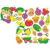 """Moosgummi-Aufkleber """"Gemüsegarten"""" für Kinder zum Gestalten, Basteln und Aufstellen – Kreatives Bilder-Bastelset für Kinder (120 Stück)"""