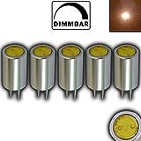 5 Stück - G4 mini LED mit 1 Watt dimmbar WARMWEIß 12V DC Stiftsockel 80° Grad Leuchtmittel Lampensockel Spot Halogenersatz Lampe