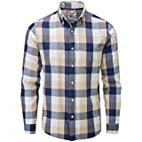 Charles Wilson Men's Long Sleeve Checked Flannel Shirt (Medium, Blue & Brown)