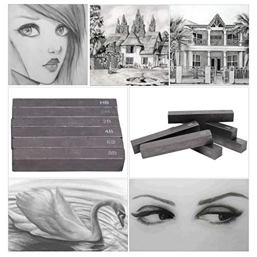 Livzing Water Soluble Woodless Compressed Graphite Stick Drawing Shading Pencil Charcoal Art Set - 6 Pieces - 2H HB 2B 4B 6B 8B