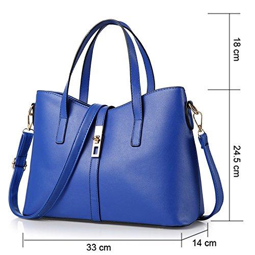 Young & Ming - Donna Borsa a spalla Borsa Tote Borsa a Mano in pelle Handbag Colore puro Blu