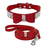 XIAOLANGTIAN Kristall Hundehalsband Und Leinen Set Strass Bowknot Halsbänder Leinen Für Kleine Mittelgroße Hunde Welpen Chihuahua Yorkshire, Rot, M