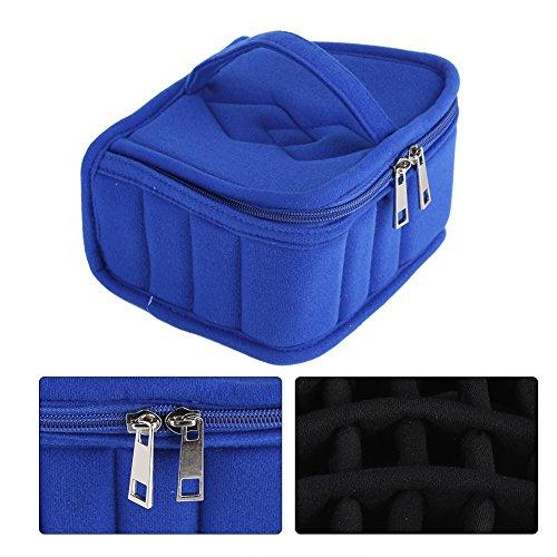 Sac d'Huiles Essentielles 30 Compartiments Coffret de Stockage pour les Bouteilles d'Huiles Essentielles Antichoc Organisateur de Flacons 5-15ml(Bleu)