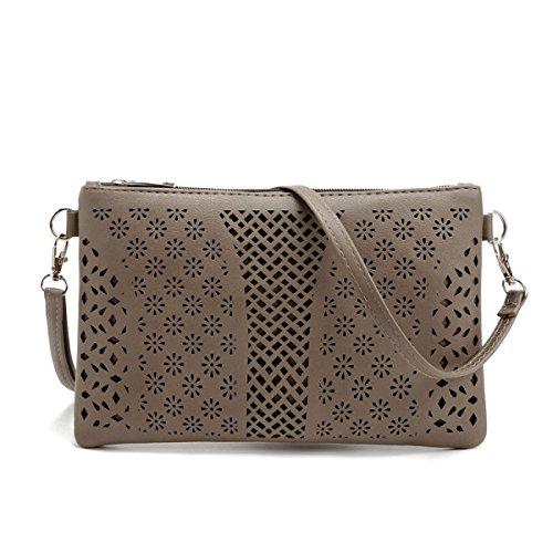 QPALZM Womens Crossbody Taschen Stickerei Loch Reißverschluss Schulter Handtasche Telefon Clutch Wallet Geldbörse A8