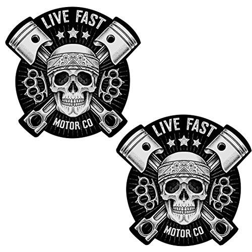 2 x Adesivi Vinile Stickers Skull Live Fast Teschio Per Auto Moto Finestrìno Porta Casco Scooter Bici Motociclo Tuning B 41