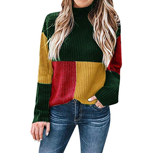 (UJUNAOR Damen Patchwork Rollkragenpullover Wilde Pullover Herbst Winter Casual Outwear(Grün,CN L))