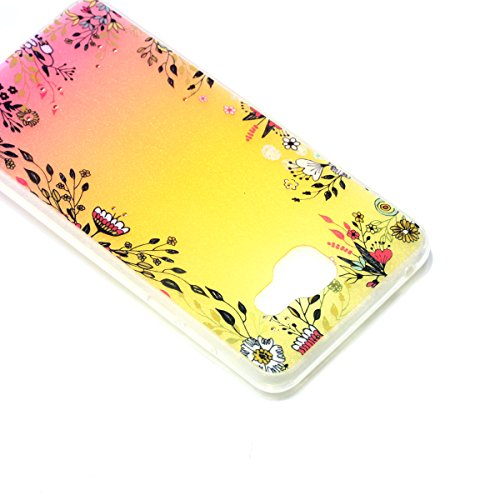 Coque Samsung Galaxy A5 2016 Glitter, Samsung Galaxy A5 2016 Coque Brillante, SainCat Ultra Slim TPU Silicone Case pour Samsung Galaxy A5 2016, Glitter Bling Diamante Strass Anti-Scratch Soft Gel 3D H Fleurs
