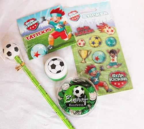 ll Geschenk Set, Kindergeburtstag, Mitgebsel, Fussballfan, Fussballgeschenk Set, Jungen 4 - 10 Jahre, 1 Set (Kicker Angebot)