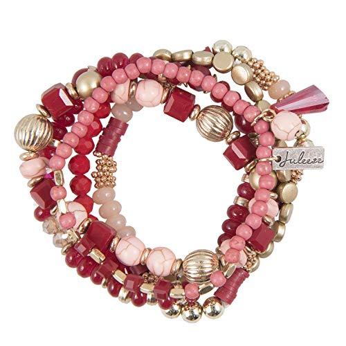 J.L.Z. Boho - Mix Armband mit Perlen, Modell Romantik Red, rot, Rose und Gold, Schmucksteine, Gummizug BZW. Stretcharmband, toller Frauen, Mädchen und Damenschmuck, incl. Schmuckbeutel