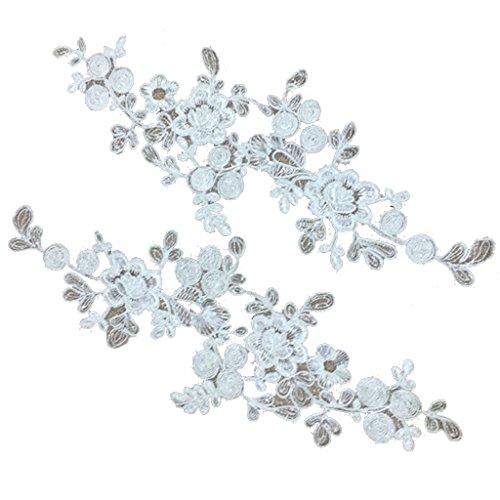 perfk 2 Stück Aufnäher Spitze Blume Stickerei Applikation Patches für Dekor T-Shirt Jeans Hut - Farbe 1, 34 x 13 cm (Lace Trim-unterstützung)
