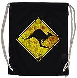Urban Backwoods Kangaroos Crossing Vintage Logo Sign Turnbeutel Känguru Australia Australien